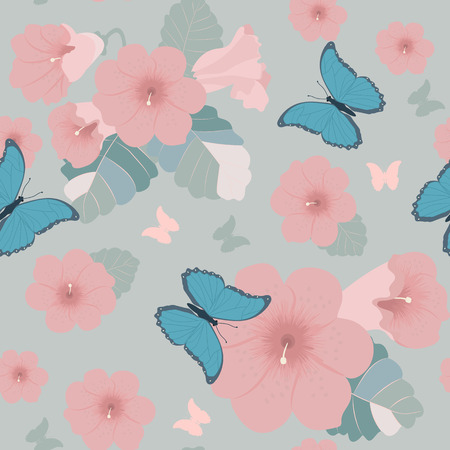 Seamless vector ilustration with flowers of petunias and butterflies in pastel colors. For decorating textiles, packaging and wallpaper.