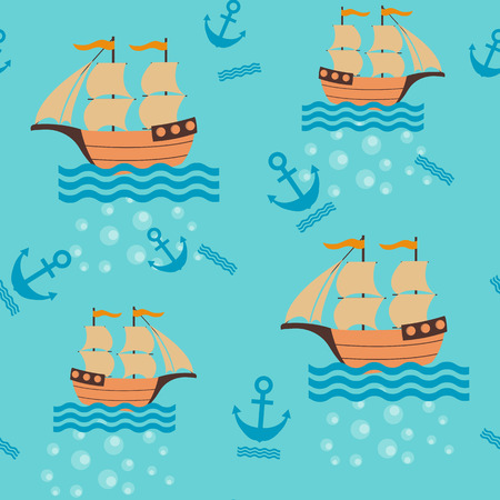 Seamless childrens vector illustration with sea ships on blue background. To decorate the fabric, paper and wallpaper.