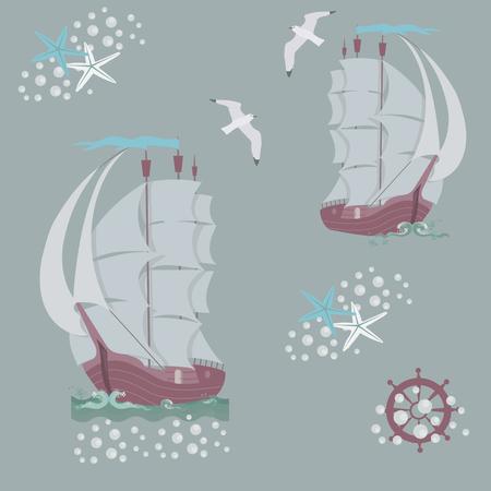 Illustration vectorielle continue avec des vieux navires marins sur fond gris. Pour décorer les textiles, les emballages et le papier peint. Vecteurs