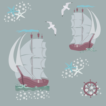 Seamless vector illustration with marine old ships on a gray background. For decorating textiles, packaging and wallpaper. Illustration