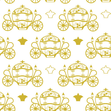Beautiful seamless vector illustration with golden carriage for Cinderella on white background. To decorate festive packaging, textiles, wedding design.