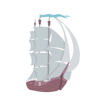 Vector illustration of an old ship on white isolated background. Template for the decor of the album, poster, web design.