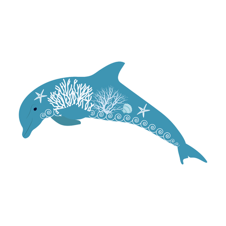 Vector illustration of a stylized dolphin on white isolated background. Template for the decor of the album, poster, application, web design.