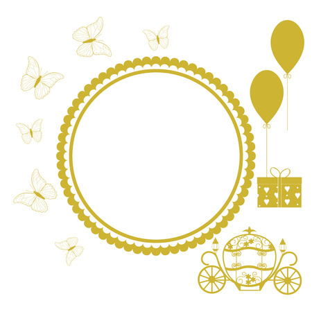 Vector illustration of a greeting card with a carriage for Cinderella, butterflies and balloons in gold, and a place for your text. Illustration