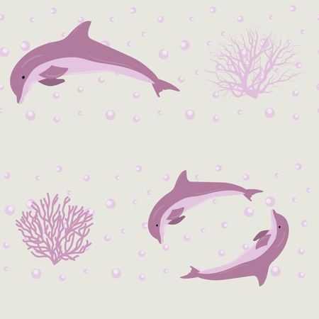 Seamless vector illustration with cute dolphins and corals. For decorating textiles, packaging, web design. Stock Illustratie