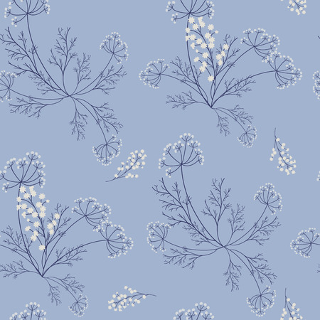 Seamless pattern with delicate wildflowers on a blue background. For decorating textiles, packaging and wallpaper. Vector illustration.