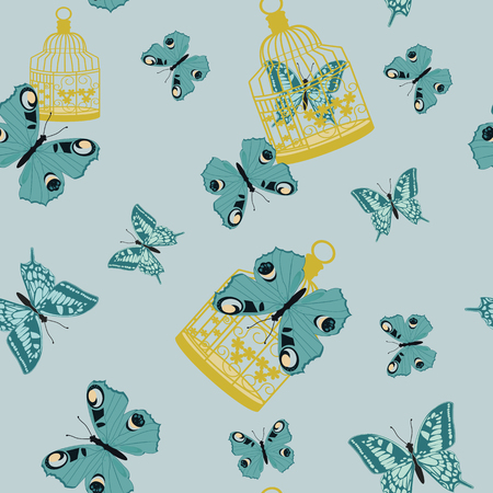 Seamless vector illustration with tropical butterflies and a bird cage on a blue background. For decorating textiles, packaging and wallpaper.