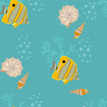Seamless vector ilustration with beautiful tropical fish and seashells on a blue background. For decorating textiles, packaging and wallpaper. Illustration