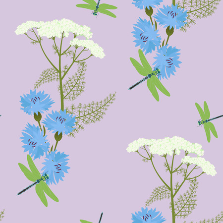Seamless gentle vector illustration with cornflowers, yarrow flowers and dragonfly in lilac background.