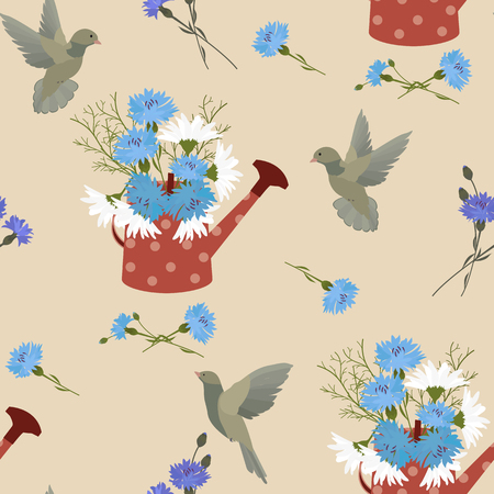 Seamless vector illustration of a bouquet of flowers of cornflowers ,chamomiles,birds, watering can . For decorating textiles, packaging and wallpaper. Illustration