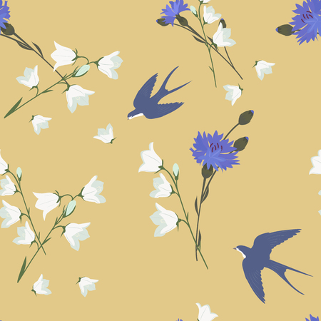 Seamless pattern with soft bells and swallows on a beige background. For decorating textiles, packaging. Vector illustration.