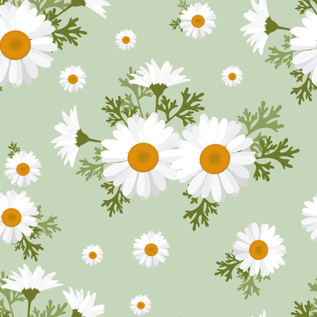 Seamless pattern with gentle camomile on a green background. For decorating textiles, packaging, web design.