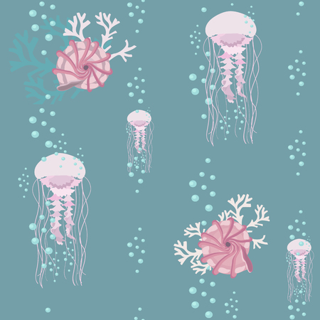 Seamless colorful vector illustration with jellyfish and sea shells. For decorating textiles, packaging and web design