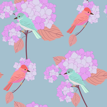 Seamless pattern with Hydrangea flowers and exotic birds. For decorating textiles, packaging and wallpaper. Vector illustration. Illustration