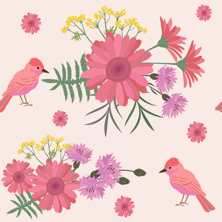 Seamless summer pattern with gerberas, cornflowers and exotic birds. For decorating textiles, packaging and web design.