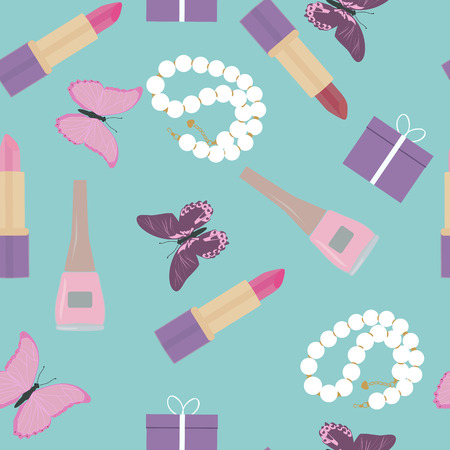 Seamless vintage pattern with womens cosmetics