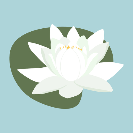 vector illustration with a white water lily template for logo