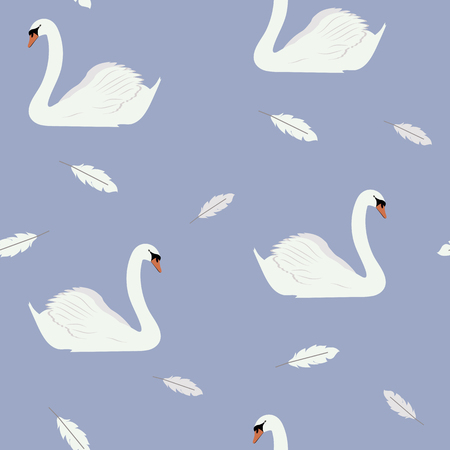 Seamless beautiful vector illustration with white swans on a blue background. For decorating textiles, packaging and wallpaper.