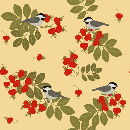 Seamless vector colorful illustration with berries wild rose and birds a yellow background. For decorating textiles, packaging and wallpaper. The style is flat.