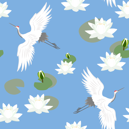 Seamless vector illustration with cranes and water lilies on a blue background. For decorating textiles, packaging and wallpaper. Illustration