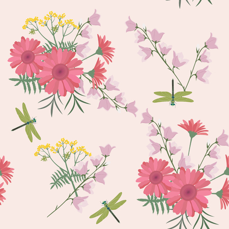 Seamless vector illustration with delicate gerberas, bells and dragonflies on a beige background. For decorating textiles, packaging and wallpaper.