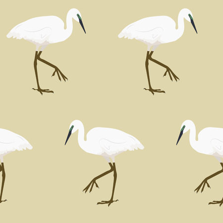 Seamless vector illustration with herons on a beige background. For decorating textiles, packaging and web design.