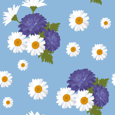 Seamless beautiful vector illustration with bouquets of camomile flowers and chrysanthemums on a blue background. For decorating textiles, packaging and wallpaper.