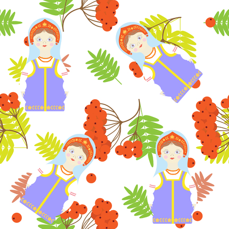 Seamless pattern with Russian matryoshka and red mountain ash on a white background. For decorating textiles, packaging. Vector illustration. Ilustração