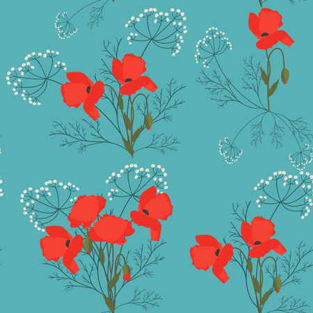 Seamless summer pattern with poppies and meadow grasses. For decorating textiles, packaging. Vector illustration. Illustration