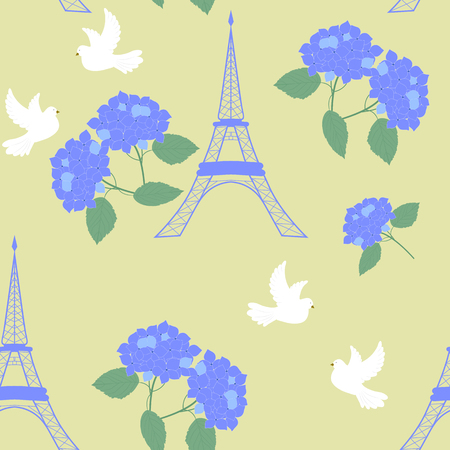 Parisian symbols. Eiffel tower, pigeons and flowers hydrangeas. Seamless vector illustration. For decorating textiles, packaging, poster, web design. Ilustrace