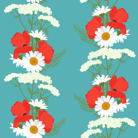 Seamless summer, beautiful pattern with poppies, chamomile and a yarrow. For decorating textiles, packaging and web design. Vector illustration.