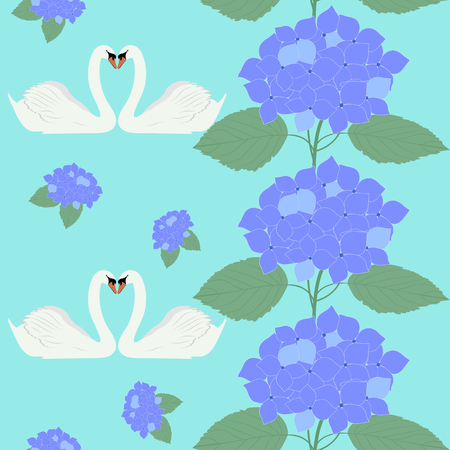 Seamless vector illustration with swans and flowers of hydrangea. For decorating textiles, packaging, web design, wedding design. Illustration