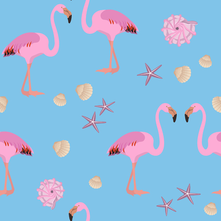 Seamless summer pattern with pink flamingos and sea shells on a blue background. For decorating textiles, packaging and wallpaper. Vector illustration. Illustration