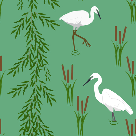 Seamless vectorial realistic illustration with bird of a heron and marsh plants on a green background. For decorating textiles, packaging and wallpaper. Illustration