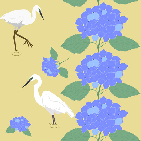 Seamless vector beautiful illustration with flowers of hydrangea and bird herons on a yellow background. For decorating textiles, packaging and wallpaper.