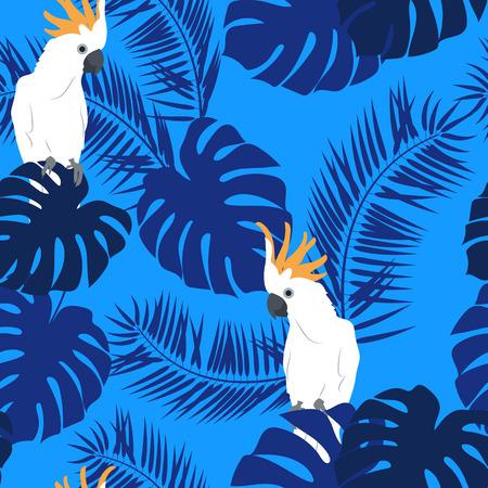 Hermoso patrón transparente con hojas de palmera, monstruos y loros sobre un fondo azul. Para decorar textiles, embalajes y papel tapiz. Ilustración vectorial