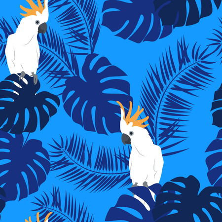 Seamless beautiful pattern with palm leaves, monsters and parrots on a blue background. For decorating textiles, packaging and wallpaper. Vector illustration.