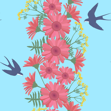 Seamless vector summer illustration with gerberas and swallows on a blue background. For decorating textiles, packaging and wallpaper. Vector illustration.