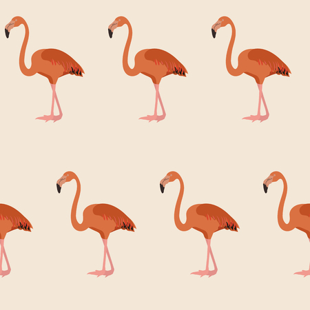 Seamless vectorial realistic illustration with pink flamingos on beige background. For decorating textiles, packaging and wallpaper.