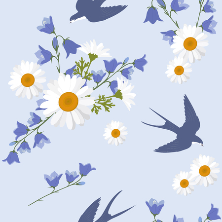 Seamless summer vector illustration with daisies, campanula and swallows. For decorating textiles, packaging and web design.