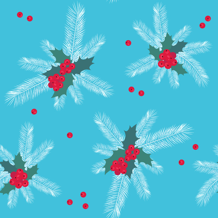 Seamless christmas vector illustration with fir branches and holly berries on a blue background. For decoration of textiles, packaging and web design.