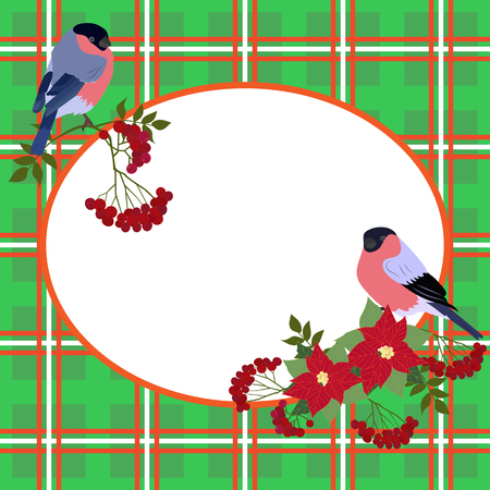 Vector illustration of a Christmas card with rowan branches, poinsettia flowers, bullfinches and with space for your text.