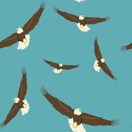 Seamless vector beautiful illustration. Eagles soaring in the sky. For decoration of textiles, packaging and web design. Ilustração