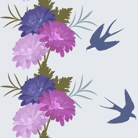 Seamless vector summer illustration with asters and swallows on a light background. For decorating textiles, packaging and wallpaper.