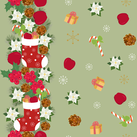 Seamless vector Christmas illustration with gifts, apples, fir branches, New Year's sock. For decoration of textiles, packaging and web design.