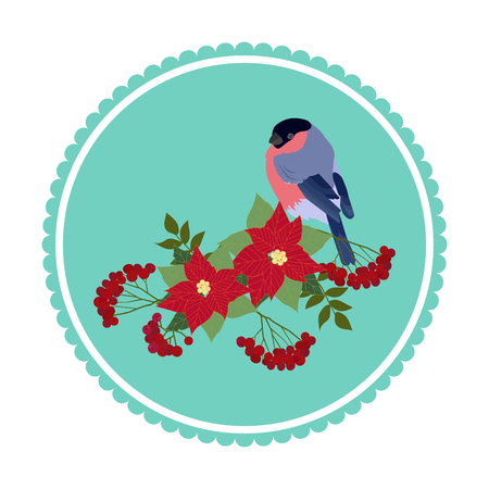 Vector Christmas illustration with poinsettia flowers, rowan branches and a bullfinch in a frame on a white isolated background. Template for postcard, icons, web design.