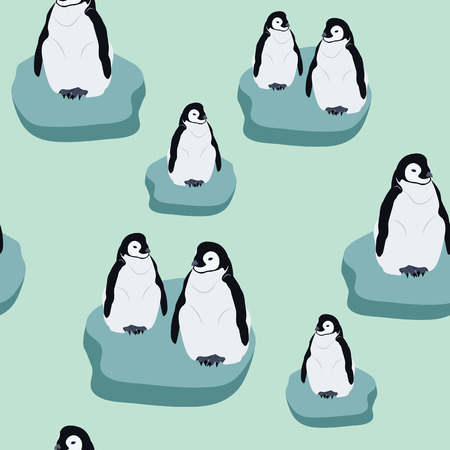 Seamless realistic vector illustration with penguins on ice floes. For decorating textiles, packaging and wallpaper.