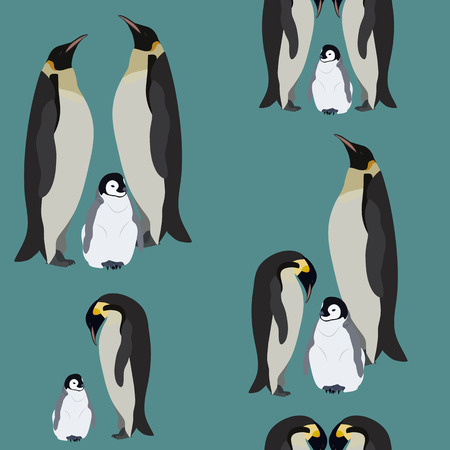 Seamless pattern with penguins. Winter vector illustration. For decorating textiles, packaging and wallpaper. Illustration