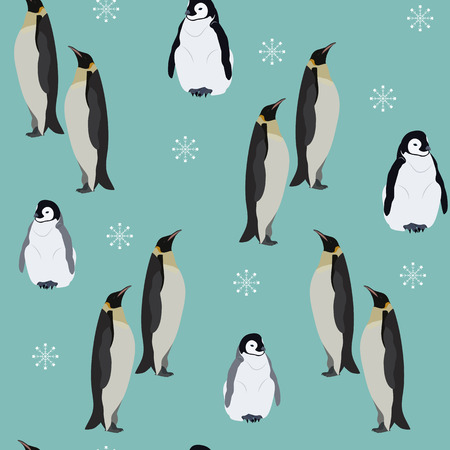 Seamless pattern with the family of penguins. Winter vector illustration. For decorating textiles, packaging and wallpaper. Illustration