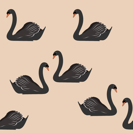 Seamless vector illustration with black swans on a beige background. For decorating textiles, packaging and wallpaper.  イラスト・ベクター素材
